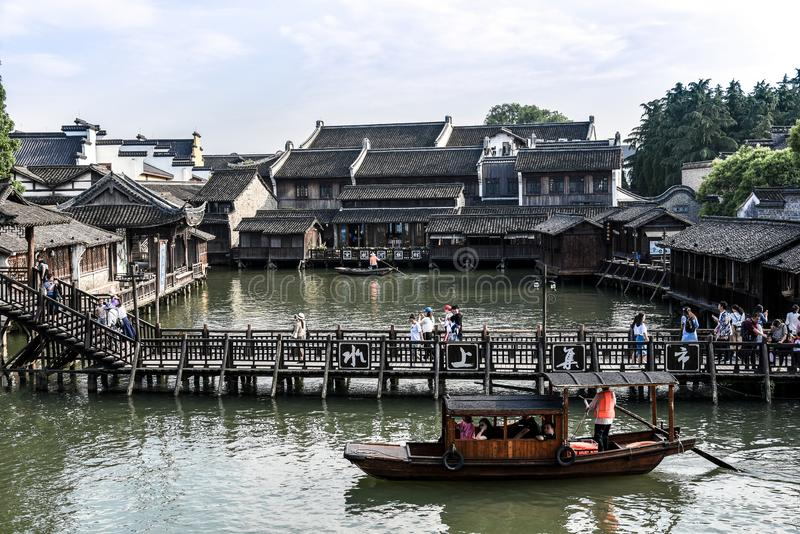 Wuzhen, Zhejiang, China - MAY, 11, 2018 : The famous and Beautiful water town scenery of West Gate Wuzhen town ancient is a. Historical and cultural town in royalty free stock photo