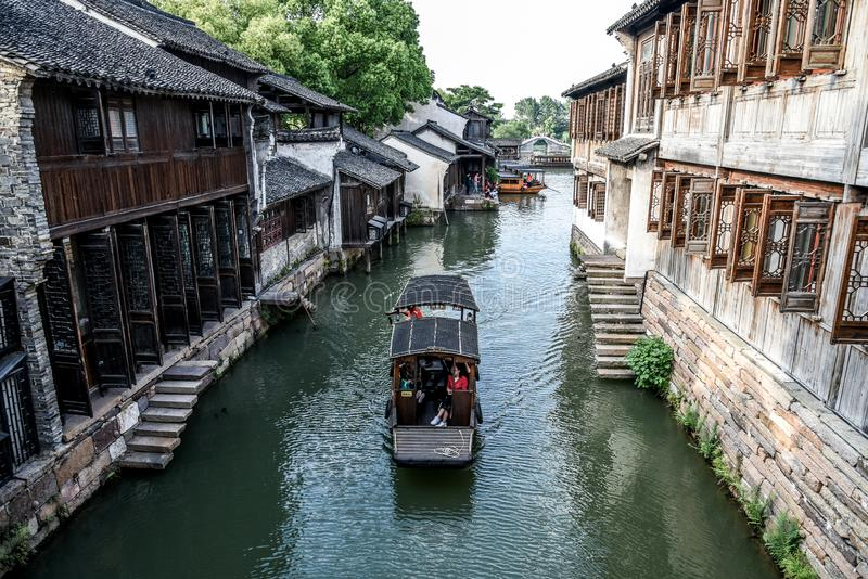 Wuzhen, Zhejiang, China - MAY, 11, 2018 : The famous and Beautiful water town scenery of West Gate Wuzhen town ancient is a. Historical and cultural town in stock photography