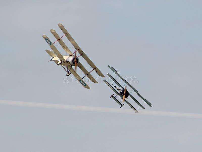 Ww1三翼飞机混战 图库摄影