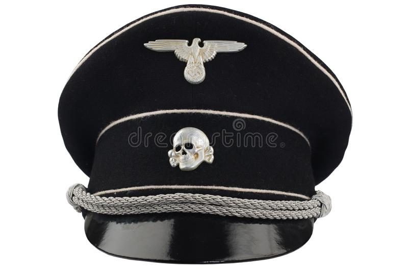 WW2德国纳粹SS黑色草料盖帽 免版税库存照片
