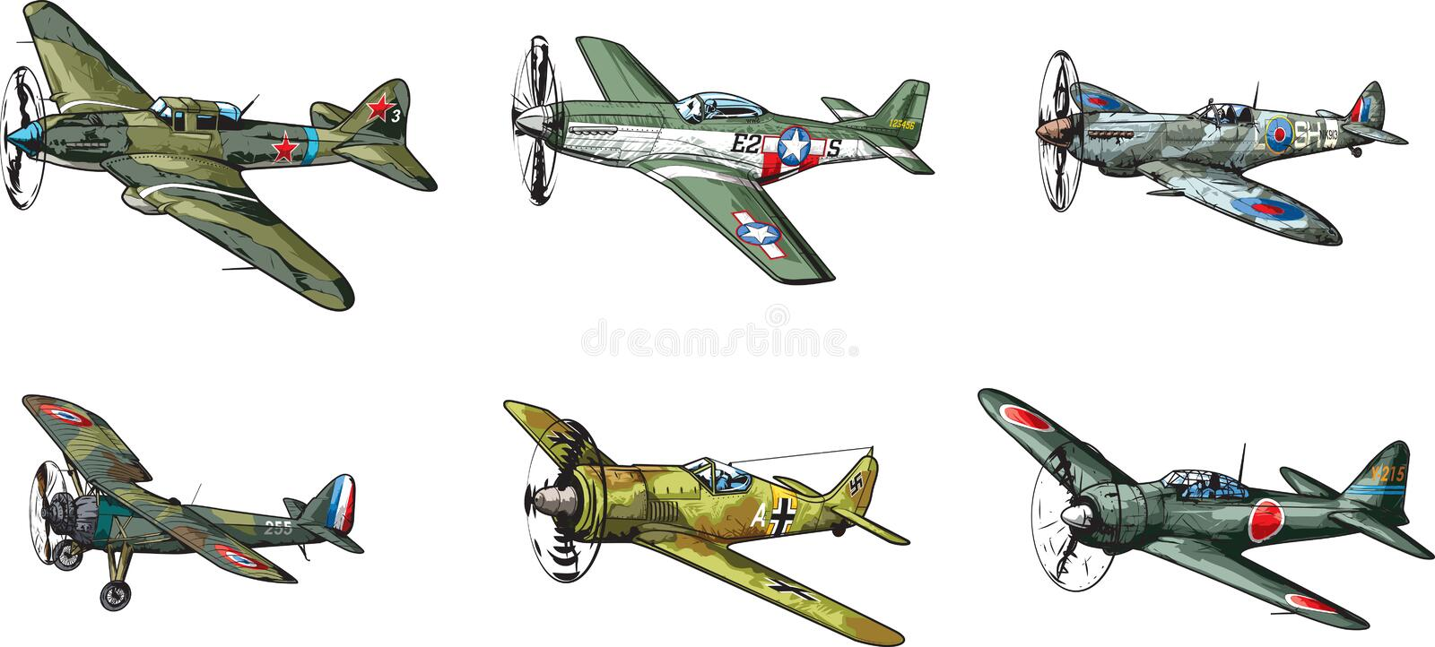 WW2 aircraft. Vector collection of military aircraft of World War II royalty free illustration