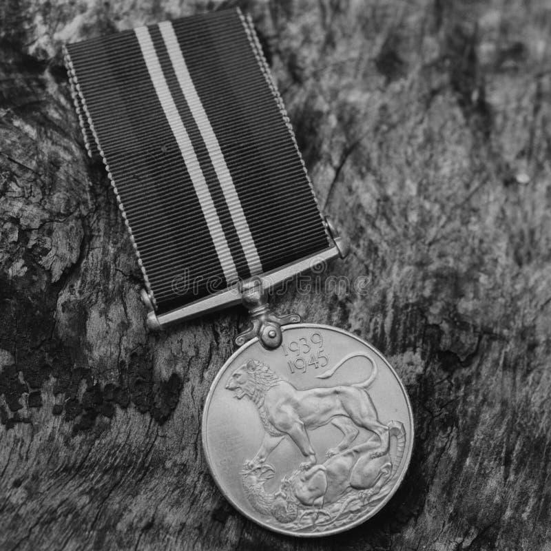 WW2 British Defense Medal - Film Grain. A WW2 British Defense Medal. Taken with 35mm black and white film stock photo