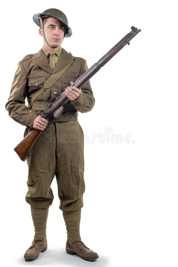 WW1 Brytyjskiego wojska żołnierz od Francja 1918 na bielu, obraz stock