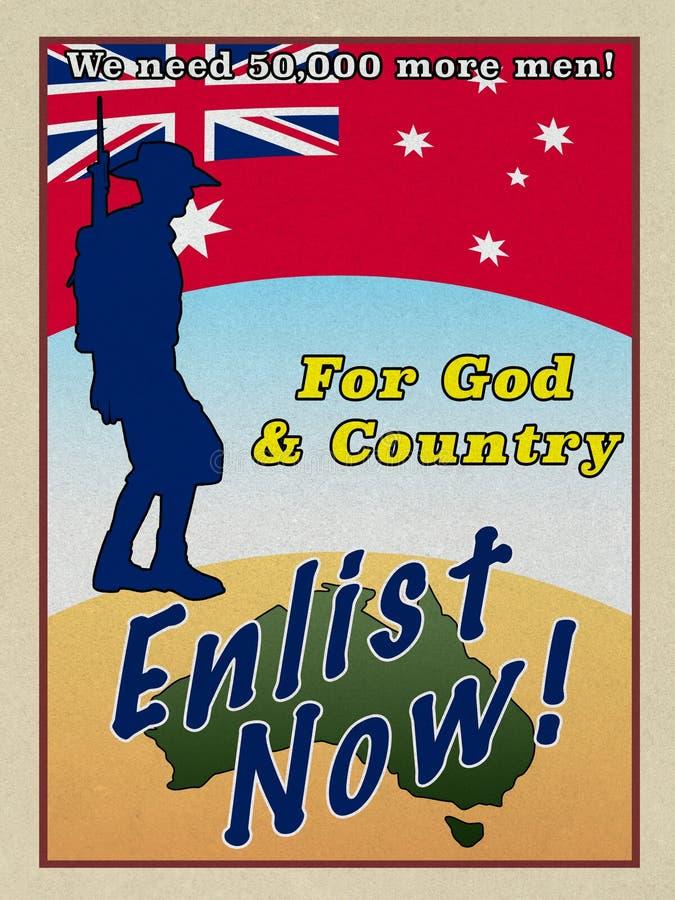 WW1 cartaz do recrutamento do estilo ANZAC ilustração royalty free