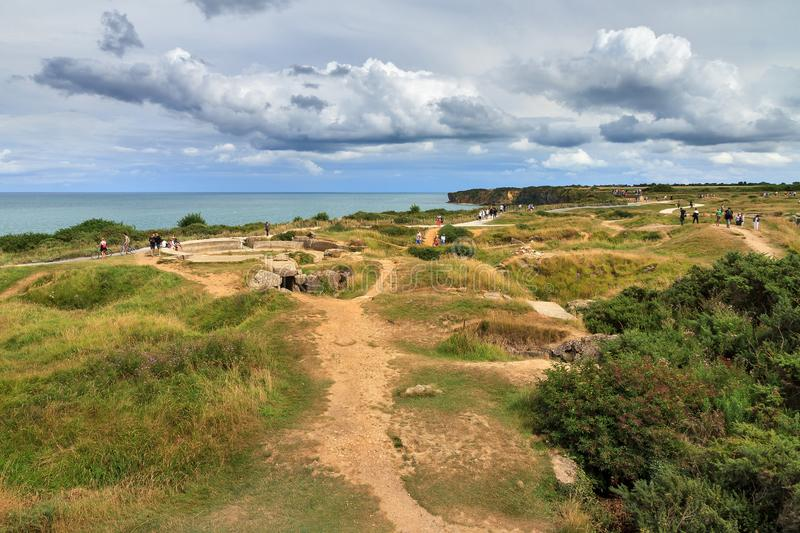 WW2 dunes Normandy. Beautiful view of the remains of German bunkers at the Pointe du Hoc in the dunes of Normandy, France, a WW2 memorial site royalty free stock image