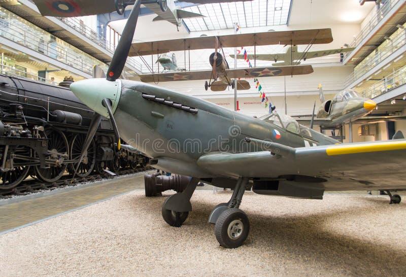Spitfire LF Mk. IXe S.89, TE565/NN-N, National Technical Museum, Prague, Czech Republic. WW2 historical aircraft Spitfire LF Mk. IXe S.89, TE565/NN-N on display royalty free stock photos