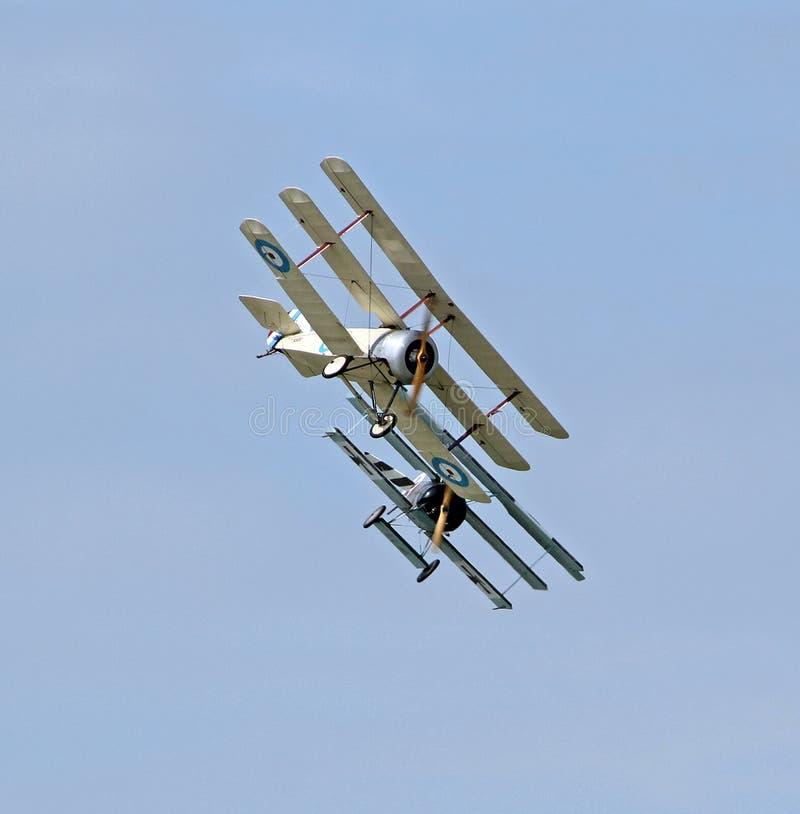 Ww1 hondengevecht uitstekende vliegtuigen stock foto's