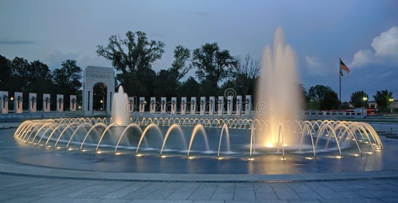 WW II Memorial at sunset stock photography