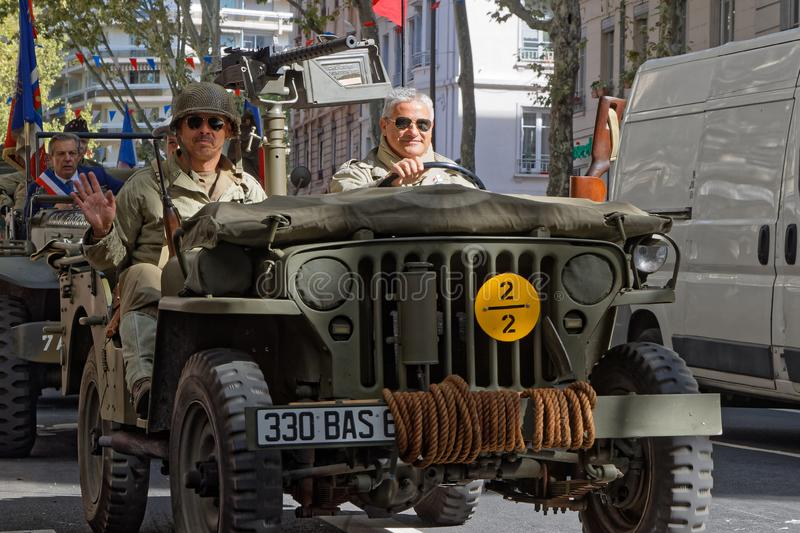 A WW2 jeep in the streets of Lyon royalty free stock photos