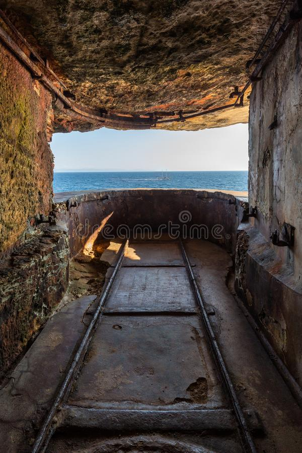 WW2 lookout in the cliffs of Bonifacio in Corsica royalty free stock photos