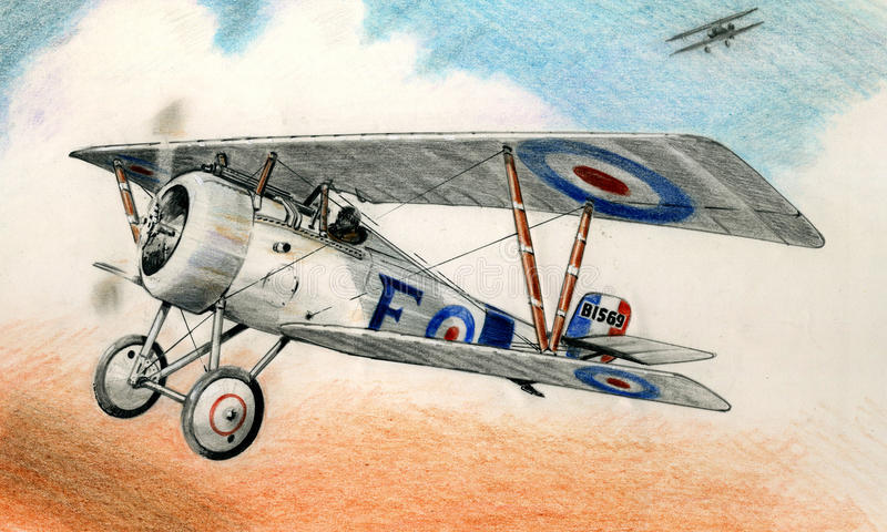 WW1 Nieuport 17. WW1 British Nieuport 17 in flight over France during 1914-18 royalty free illustration