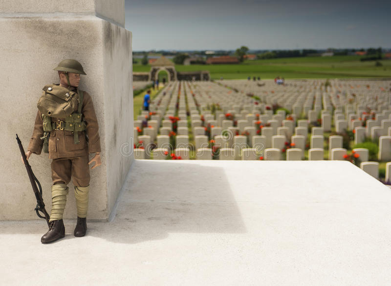 WW1 soldier at Tyne Cot war cemetary in Belgium royalty free stock photography