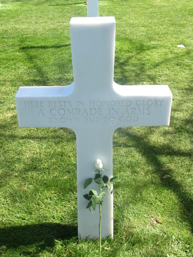 WW2 war soldier cross france normandy grave. Yard stock images