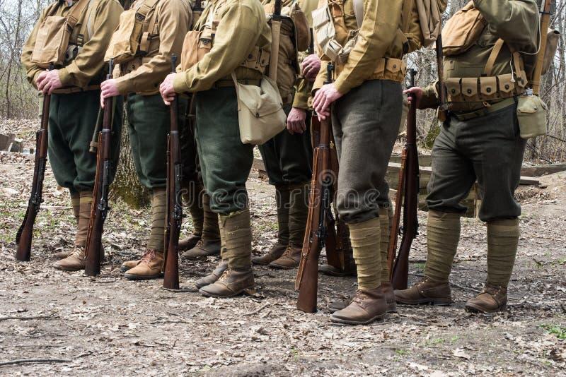 WW1 wojny światowa Amerykańscy żołnierze zdjęcia stock