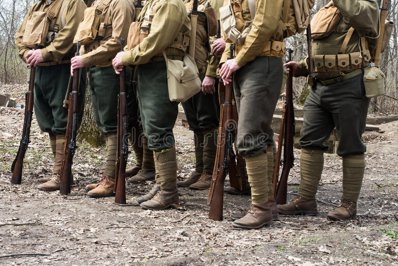 WW1 World War American Soldiers. Squad of American WW1 or World War One army soldiers stock photos
