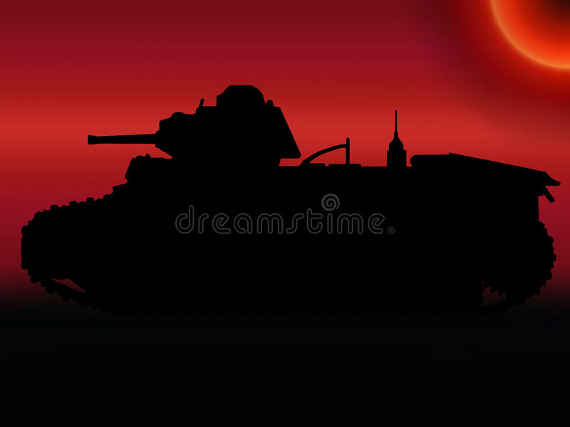 WW2 het Silhouet van de Tank van de zonsondergang stock illustratie
