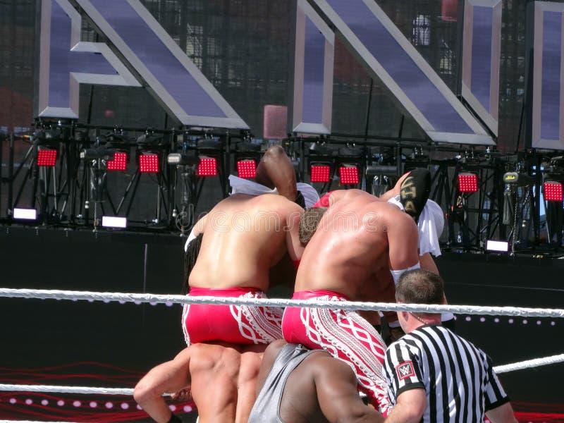 WWE摔跤手, Cesaro,大E, los matadores,泰森Kidd,科菲K 库存照片