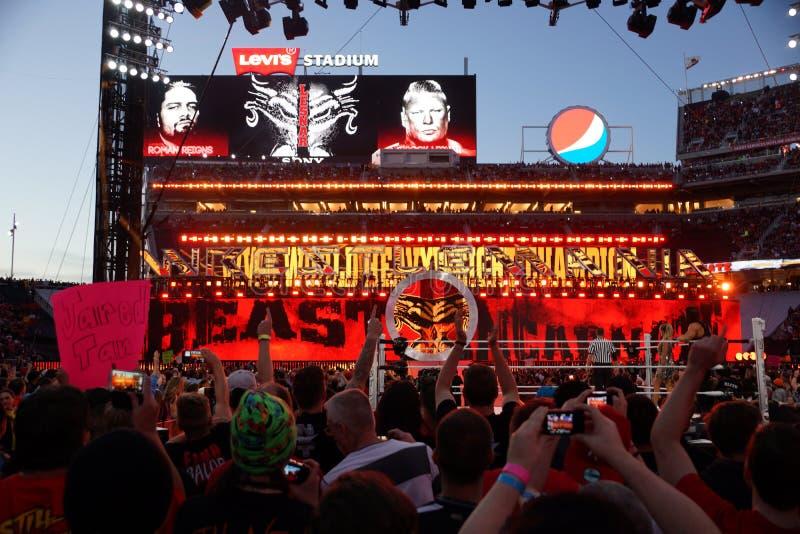 WWE-de Kampioen Brock Lesner gaat arena in royalty-vrije stock afbeeldingen