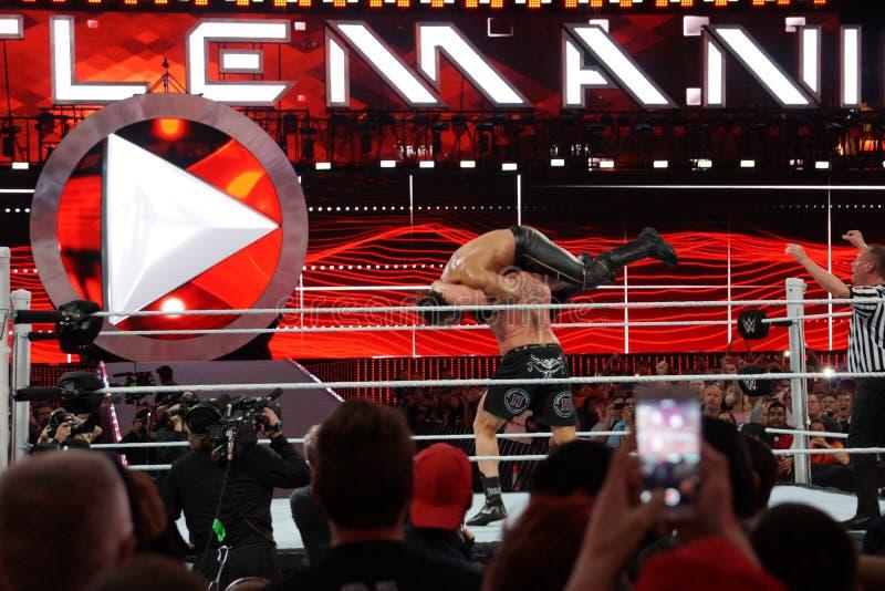 WWE-de reeksen van Kampioensbrock lesner - omhoog aan F-5 Seth Rollins door te plaatsen royalty-vrije stock foto's