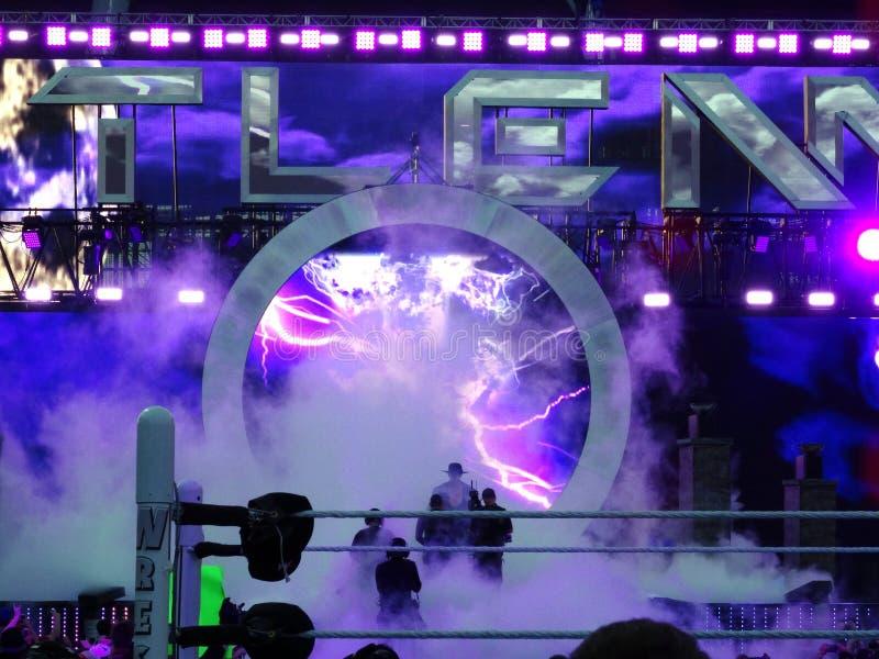 WWE-de Worstelaar de Begrafenisondernemer gaat arenarubriek naar rin in royalty-vrije stock afbeeldingen