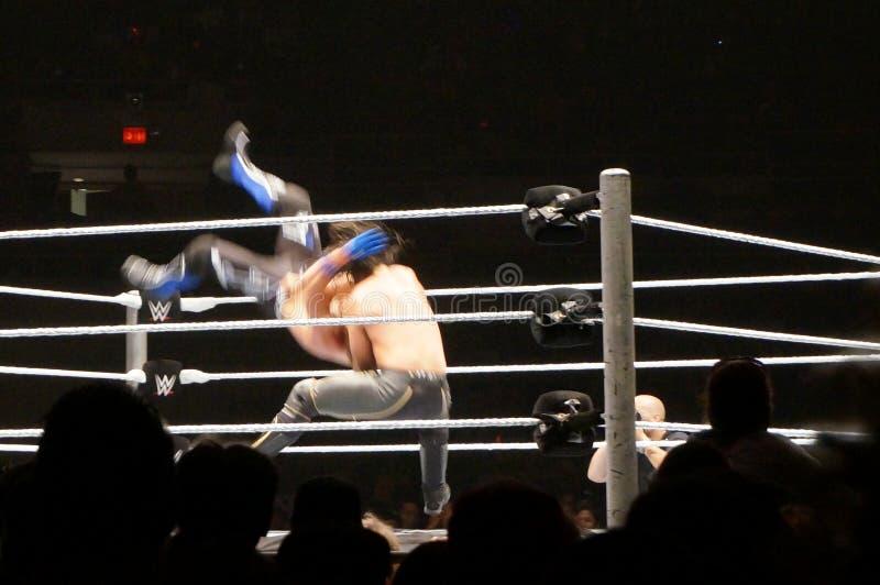 WWE-de Worstelaar Seth Rollins doet michinokubestuurder binnen op AJ Stijlen stock foto's
