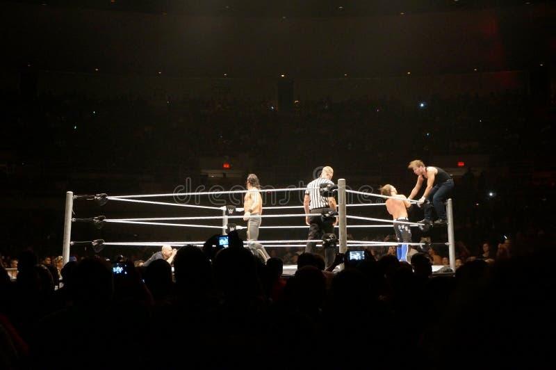 WWE-de Worstelaar Seth Rollins duwt Dean Ambrose naar kabels stock fotografie