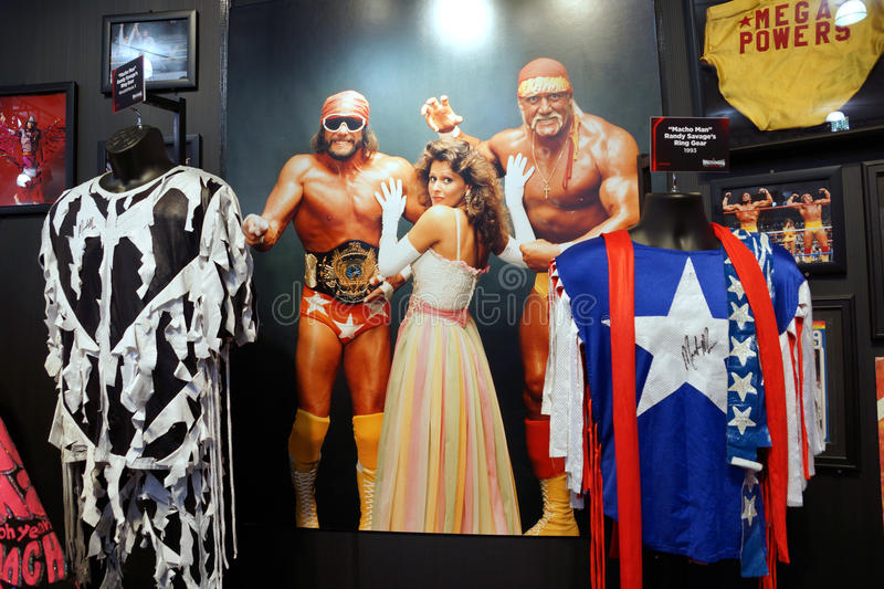 WWE Legend Macho Man and Hulk Hogan Mega Powers outfits, hats, s. SAN JOSE - MARCH 28: WWE Legend Macho Man and Hulk Hogan Mega Powers outfits, hats, sunglasses stock photo