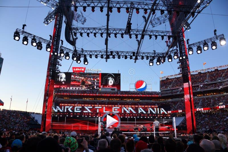 WWE-Ringkämpfer der Leichenbestatter und Bray Wyatt kämpfen im Ring mit Cr lizenzfreie stockfotografie