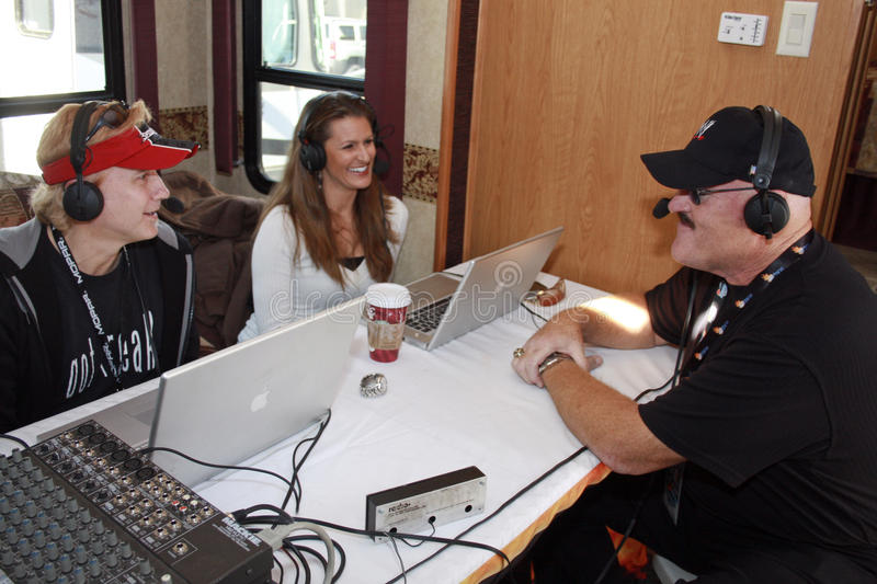 WWE Sgt. Slaughter radio appearance. Sgt. Slaughter interviewed on radio show before the start of the Checker O'Reilly Auto Parts 500 at Phoenix International stock photo