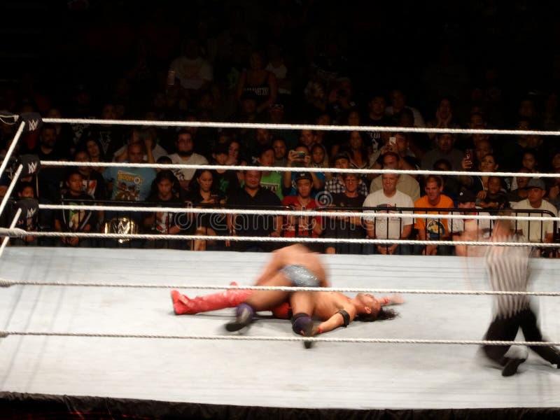 WWE Wrestler Jinder Mahal covers Shinsuke Nakamura for the in as ref counts. Honolulu - September 13, 2017: WWE Wrestler Jinder Mahal covers Shinsuke Nakamura royalty free stock photos
