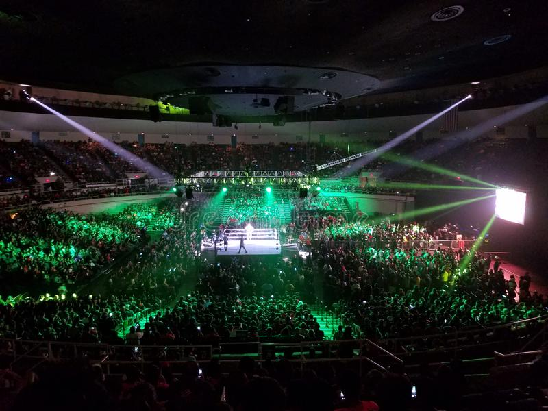 WWE Wrestler makes entrance in ring with crowd watching at WWE event. Honolulu - September 13, 2017: WWE Wrestler makes entrance in ring with crowd watching at stock photo
