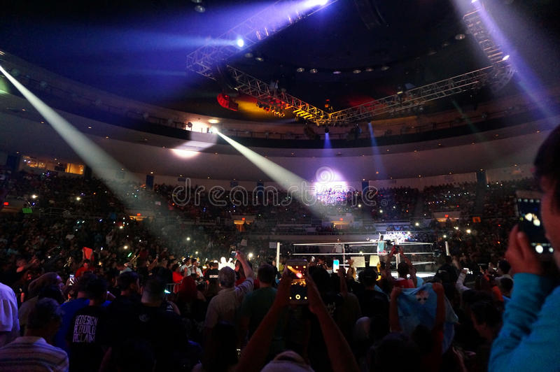 WWE wrestlers New Day make entrance in ring. HONOLULU - JUNE 29, 2016: WWE wrestlers New Day make entrance in ring at WWE event at the Neal S. Blaisdell Center royalty free stock photography