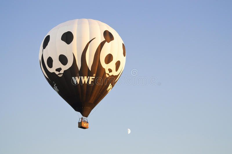 WWF Balloon. THE NETHERLANDS - MARCH 2013: The WWF hot air balloon for promotion the World Wildlife Fund royalty free stock photography