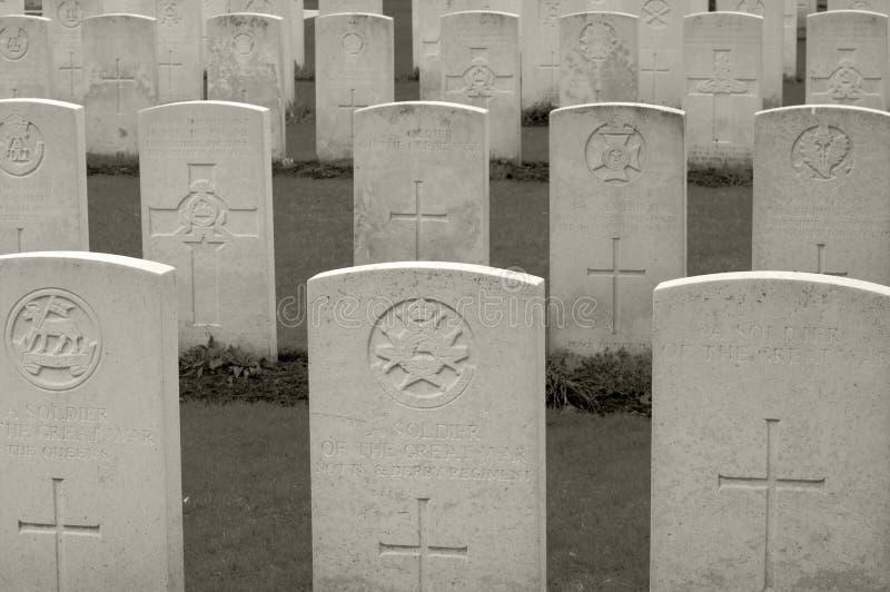 WWI军事公墓在富兰德,比利时 免版税库存图片