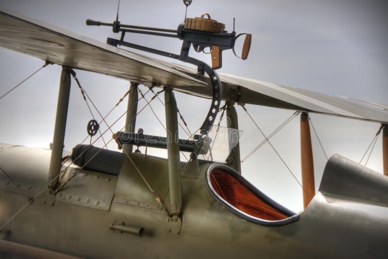 WWI British SE5a Cockpit. Replica WWI British SE5a Cockpit seen from the side, includes wing mounted machine gun royalty free stock photos
