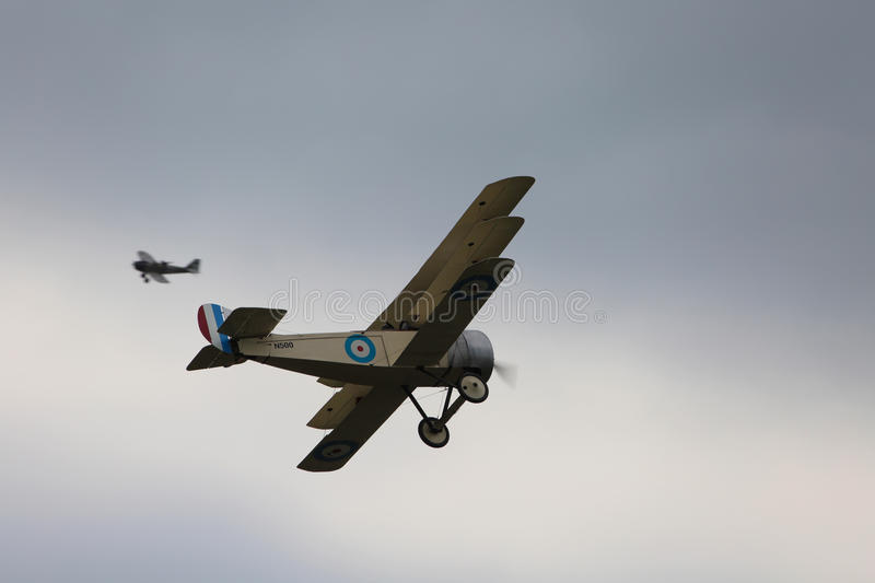 World War One Dogfight. Two World War 1 planes re-enacting a dogfight stock photography