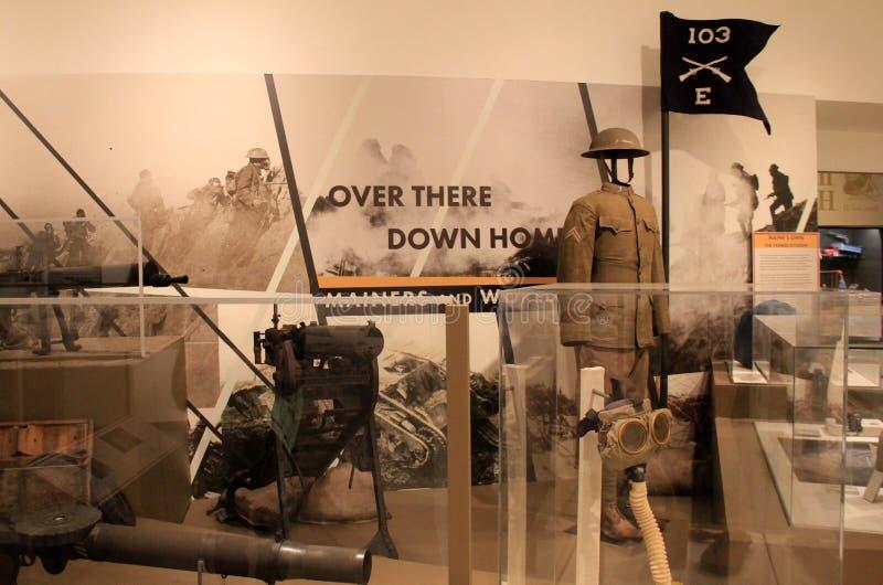 WWI eksponat na mężczyzna Maine wysyłał wojna, widzieć przy stanu muzeum, Augusta, Maine, 2018 obraz stock