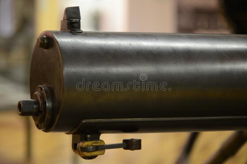 WWI Machine Gun Detail. Former combat weapon used during the First World War stock photo