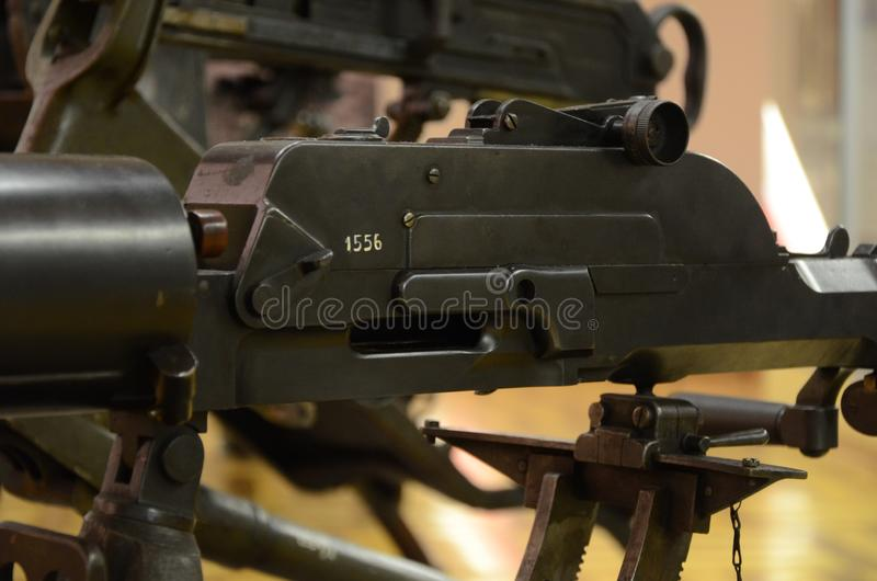 WWI Machine Gun Detail. Former combat weapon used during the First World War stock image