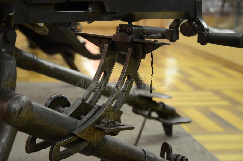 WWI Machine Gun Detail. Former combat weapon used during the First World War stock images