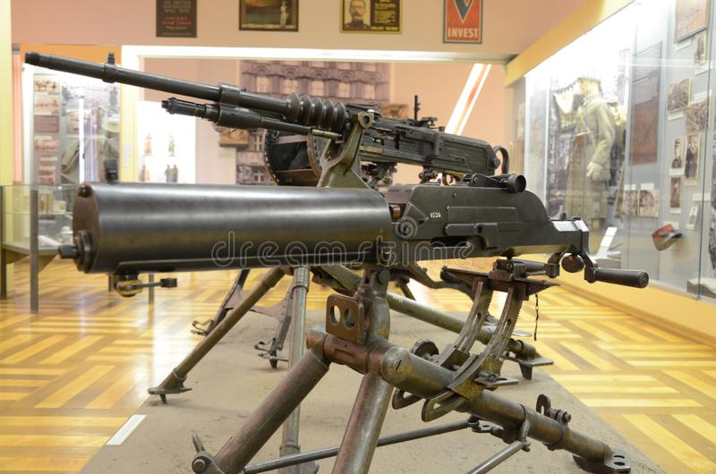 WWI-Machinegeweerdetail Vroeger die gevechtswapen tijdens de Eerste Wereldoorlog wordt gebruikt stock foto's
