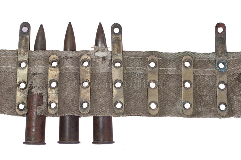 Wwi period chain of cartridges. On white background royalty free stock images