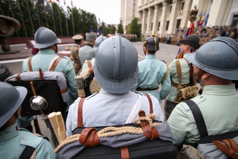 WWI reenactors take part at military ceremony. Bucharest, Romania - April 7, 2019: WWI reenactors take part at military ceremony stock photos