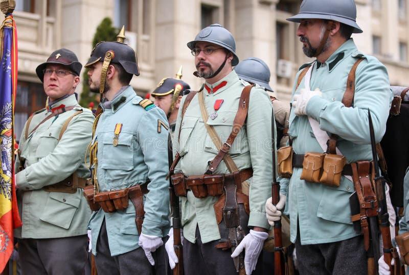 WWI reenactors take part at military ceremony. Bucharest, Romania - April 7, 2019: WWI reenactors take part at military ceremony stock photography