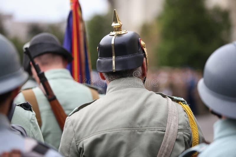 WWI reenactors take part at military ceremony. Bucharest, Romania - April 7, 2019: WWI reenactors take part at military ceremony royalty free stock image