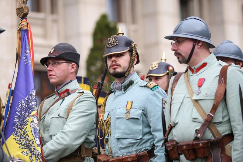 WWI reenactors take part at military ceremony. Bucharest, Romania - April 7, 2019: WWI reenactors take part at military ceremony stock images