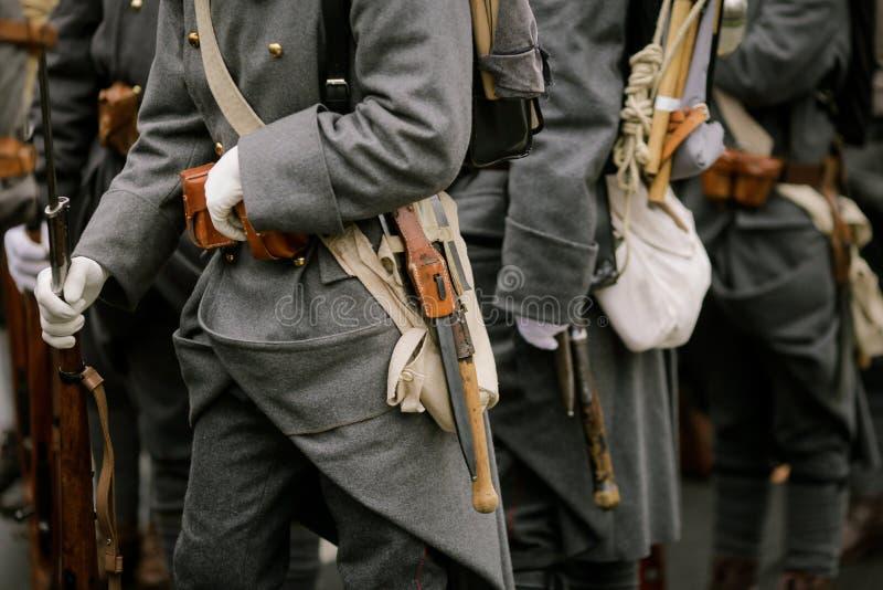 WWI reenactors. Take part at a military parade stock images