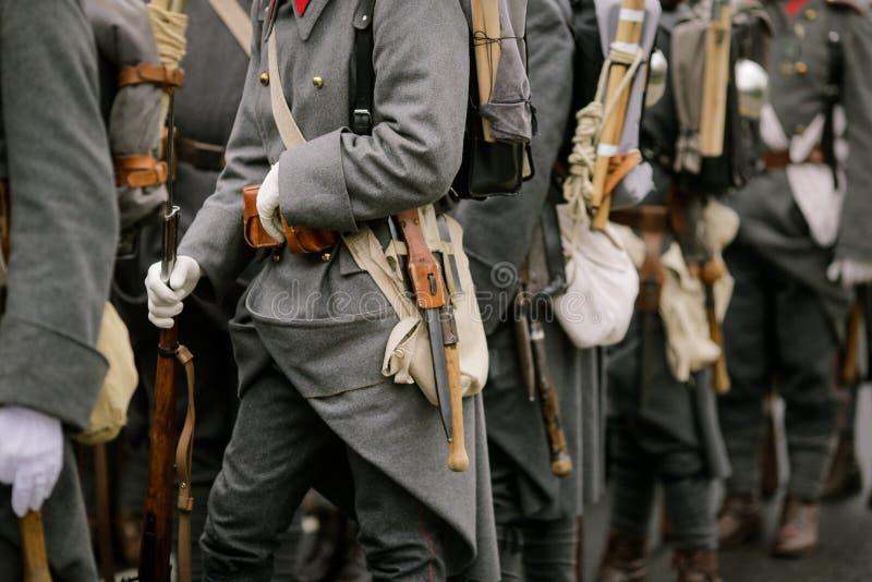 WWI reenactors. Take part at a military parade stock photo