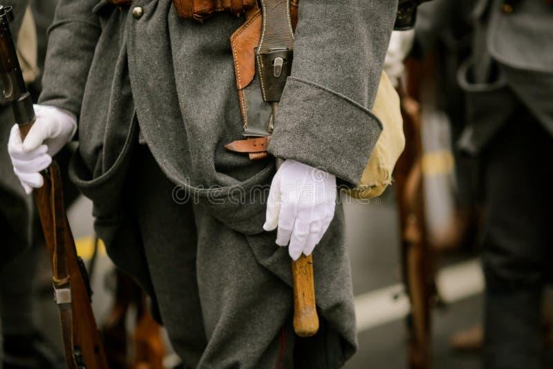 WWI reenactors. Take part at a military parade royalty free stock photography