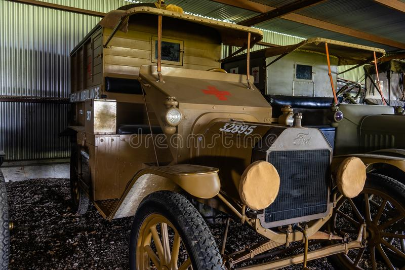 WWi Restored American Expeditionary Force French Embellished Ambulance. Kingsbury, Texa/USA - July 6, 2018 - This restored WWI ambulance was used by American stock images